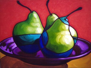 Pears with Purple Plate 48x36