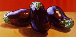 Aubergines on Red 60x30