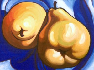 Pears on Blue Cloth 48x36