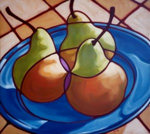 Pears with Blue Plate 40x36