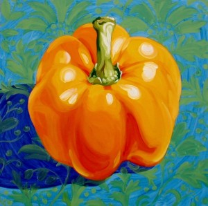 Orange pepper on Blue 48x48